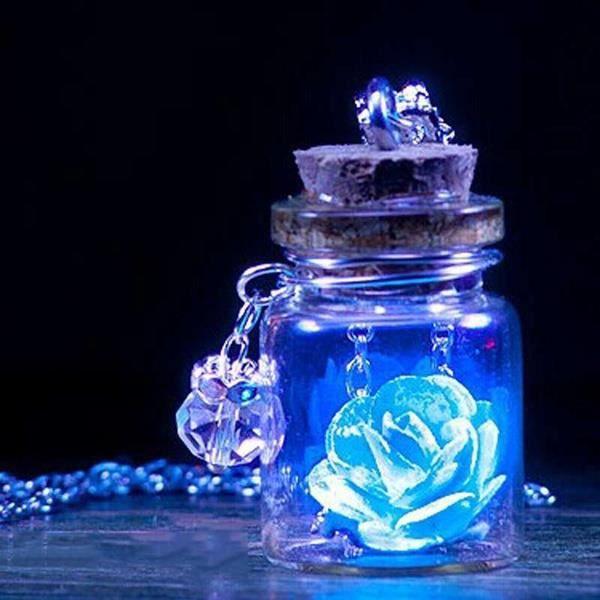 Bijoux Phosphorescent f6561 nouveautés phosphorescent bijoux noir glowing fleur collier délicat  mini verre souhaitant bouteille (glowing exposition au