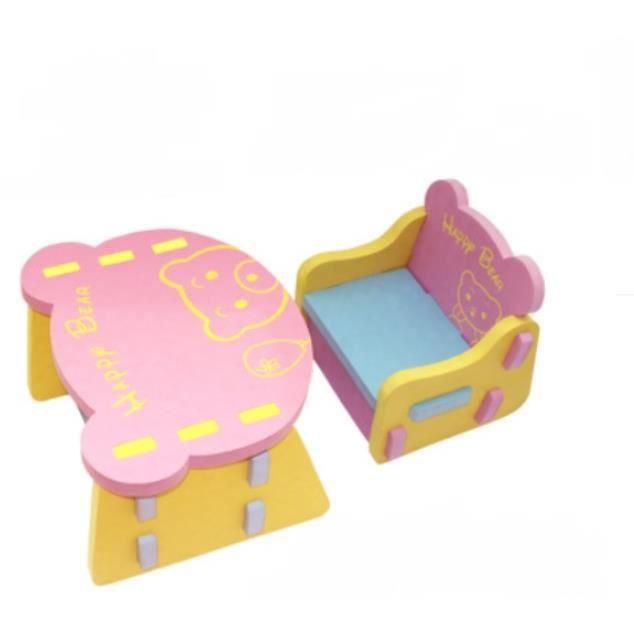 Table Et Chaise Ensemble Rose Forme Dours Mousse