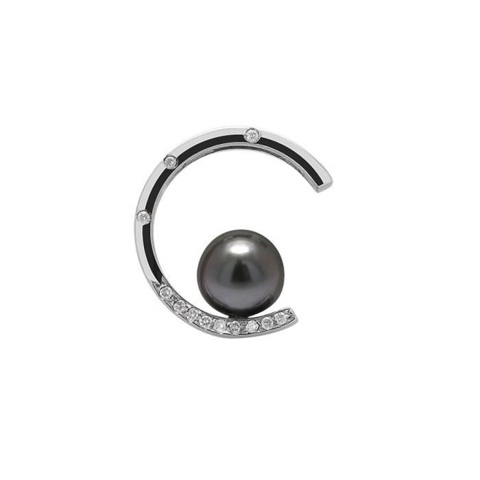 Pendentif Perle de Tahiti, Diamants et Argent 925/1000 - Blue Pearls
