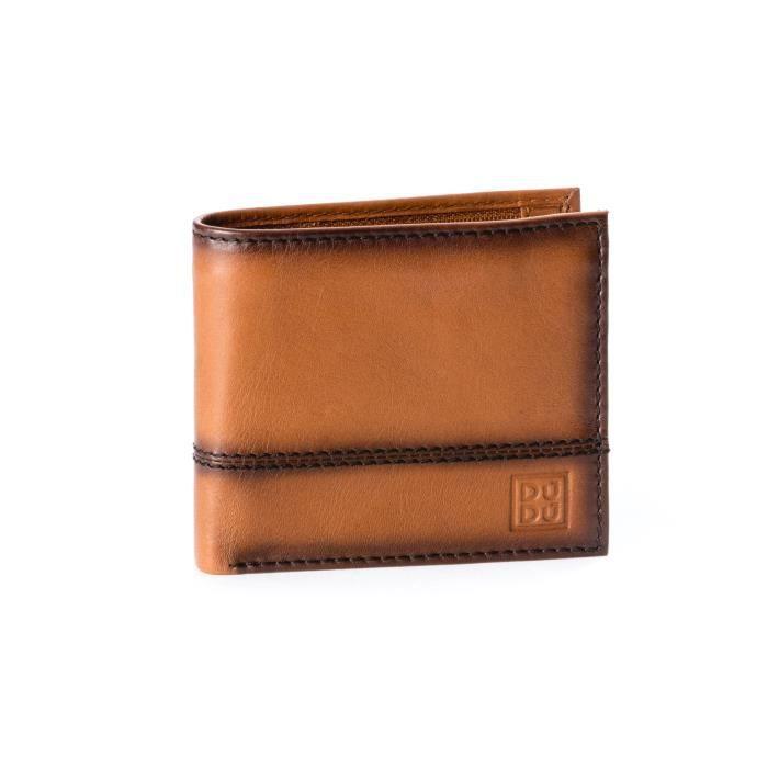 Petit portefeuille pour homme réalisé en cuir véritable de vachette pleine  fleur, Poche intérieure zippée, fentes pour cartes de . eba7f65eac8
