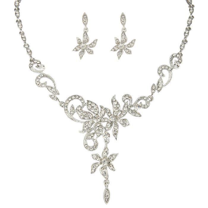 Ever Faith-Cristal Autrichien Fleur Mariée Parure Bijoux Transparent N05221-1