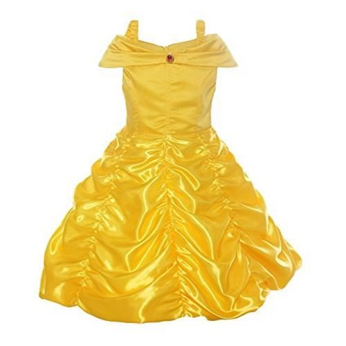 a408dea240091 Robe de princesse avec bretelles Déguisement de La Belle et La Bête cosplay  jupe ruché Tenue de conte de fée pour enfant 9-11 ANS