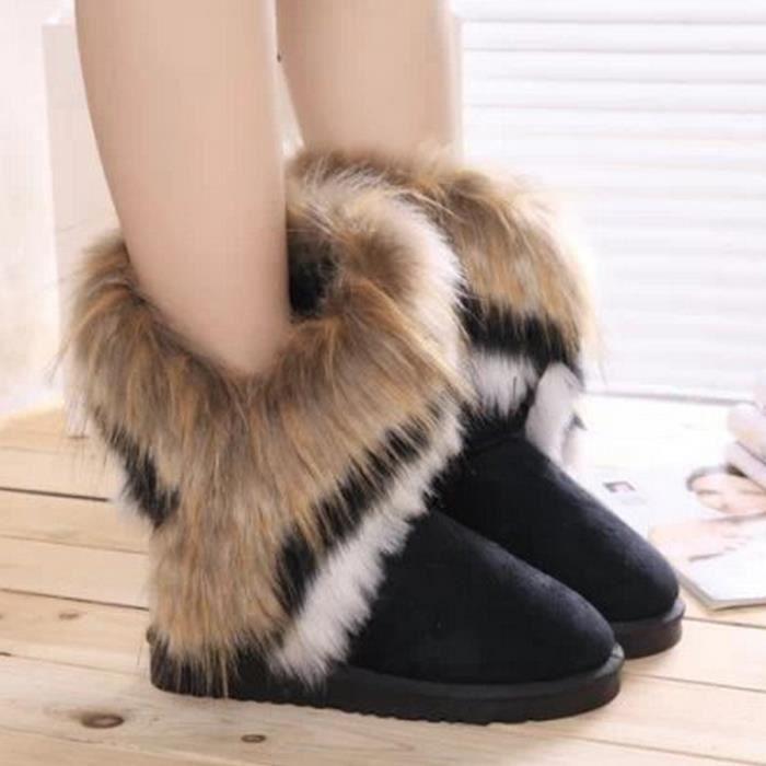 8.5-l'hiver chaud lapin longues bottes pour la neige artificielle haut cuir tassel fourrure renard des chaussures de femmes.(noir) XqCu3f