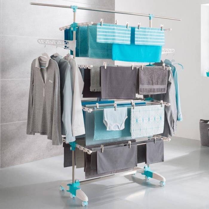 s choir linge 4 niveaux r glables barre t lescopique pour draps achat vente fil linge. Black Bedroom Furniture Sets. Home Design Ideas