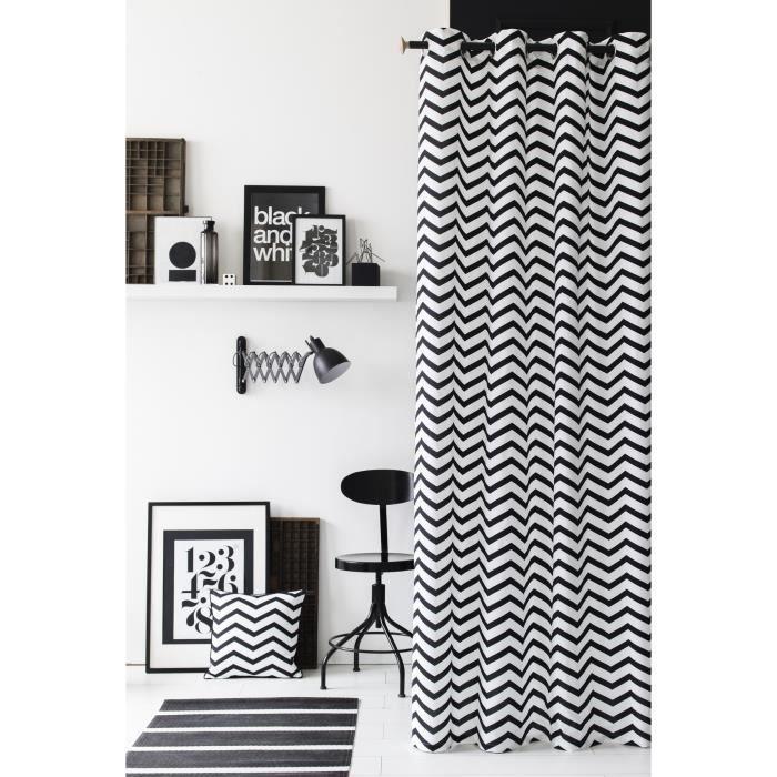 today rideau 100 coton zig zag 140x240 cm blanc et noir achat vente rideau cdiscount. Black Bedroom Furniture Sets. Home Design Ideas
