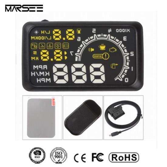 Afficheur voiture Head Up Display HUD Tête Haute Affichage OBD2 OBDII de Vitesse, Niveau de carburant, Compte tour 14.8*8.5cm