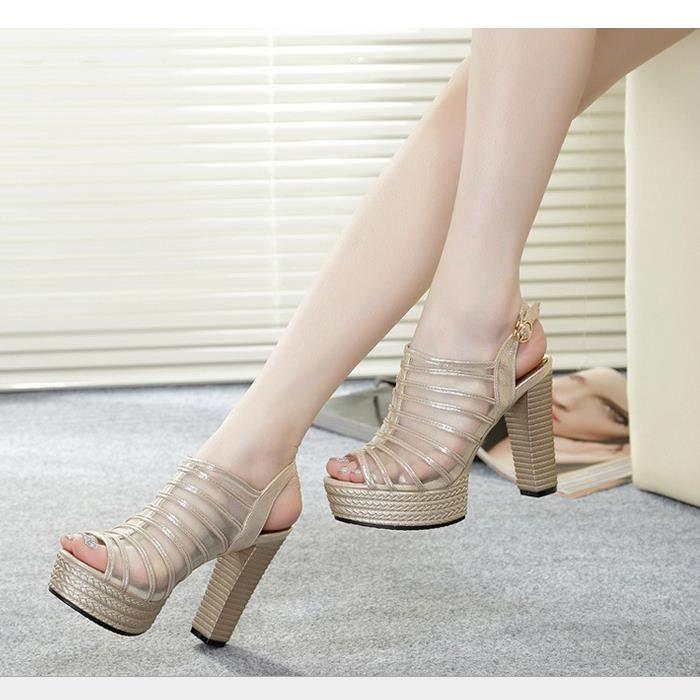 sandales d'été imperméable à l'eau d'épaisseur avec des sandales mode chaussures à talons hauts