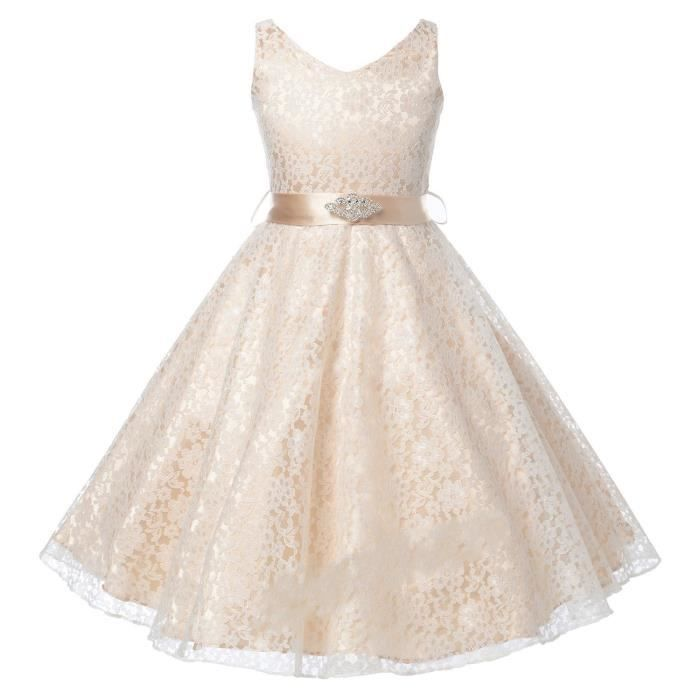 f5886ee84ab1f Champagne Robe de fille de fleur Baptême Anniversaire Fête Dentelle mariage  de demoiselle d honneur Flower Girl Dress