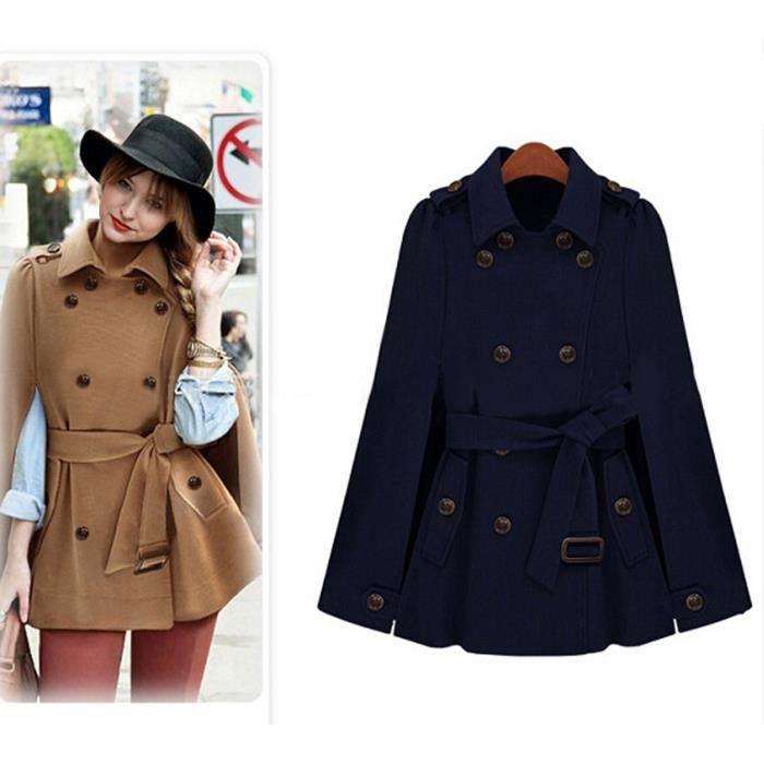bleu marin manteau femme col rever en forme de cape laine fille hiver double boutonnage avec. Black Bedroom Furniture Sets. Home Design Ideas