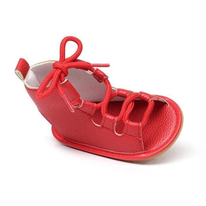 Chaussures Bébé montant Scandales Spartiate frais de Couleur Rouge j4tDM3c24