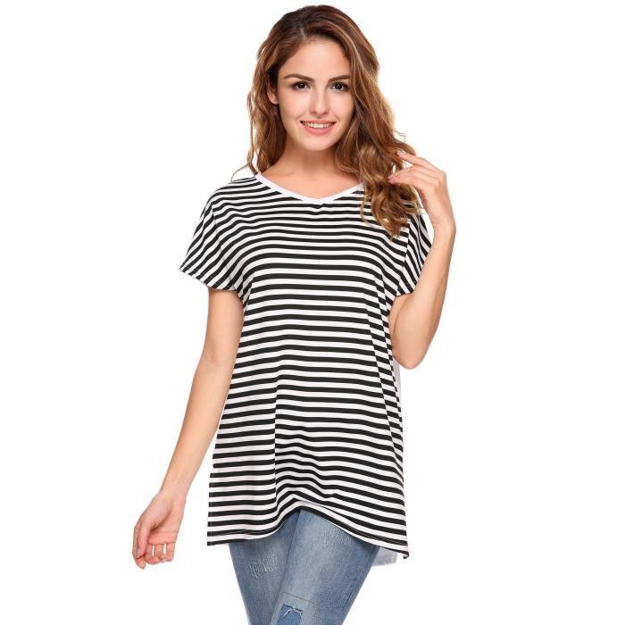 Courte blanc T Rayures Noir À Décontractés Femmes Encolure shirt awY88