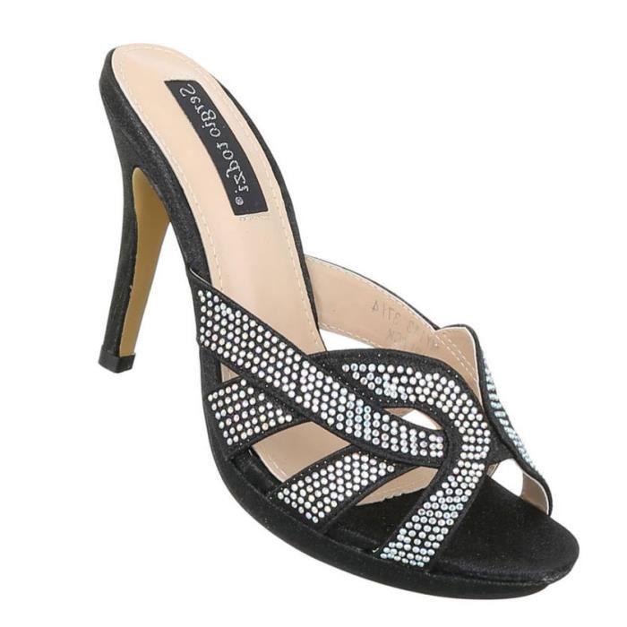 Femme sandales chaussures High Heels High Heels styleetto Pantoletten escarpin noir 41 DF8LTt