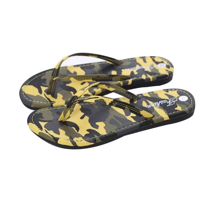 Pantoufle Homme Été Camouflage Breathable Flip Flops Ultra Confortable Classique Chaussures Pour Plage Zx-x017-jaune-44