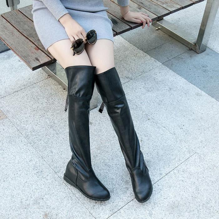 Sidneyki®Bottes d'hiver de la cuisse de femmes au-dessus de la botte de genou a augmenté les chaussures à talons plats Noir WE696