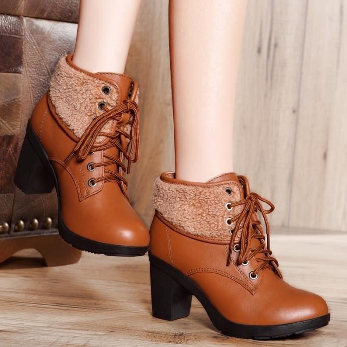 Femmes Plateforme Bottines à bout rond à lacets Chaussures d'hiver Bottes femme en cuir véritable femme Bottes automne Taille 2xpqGN