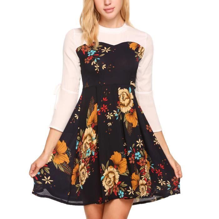Sleeve de Flare 3 courte plissée soie Floral Femmes en Patchwork robe 4 mousseline Print pqwXZxAU