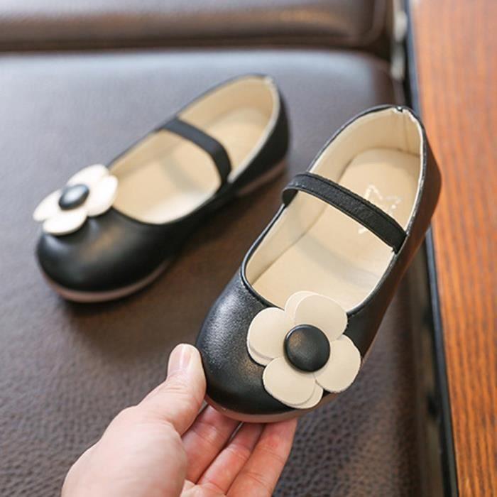 062feb990626d exquisgift®Mode Fleur Sandales en cuir Princesse Chaussures simples Loisirs  pour Enfant Filles Noir SCH80308834BK
