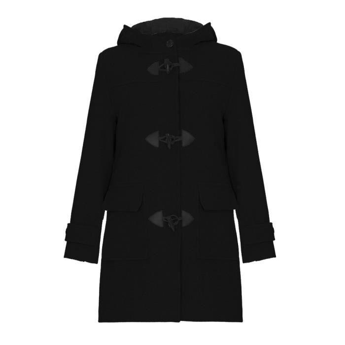 5da4902171 De La Creme - Hiver laine & Cachemire capuche Duffle Manteau - Noir - Femme