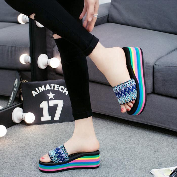 D'intérieur Extérieur xiezi Style Chaussures Femmes Bleu Tongs 2020 Sandales Plage De National D'été qIwSYP