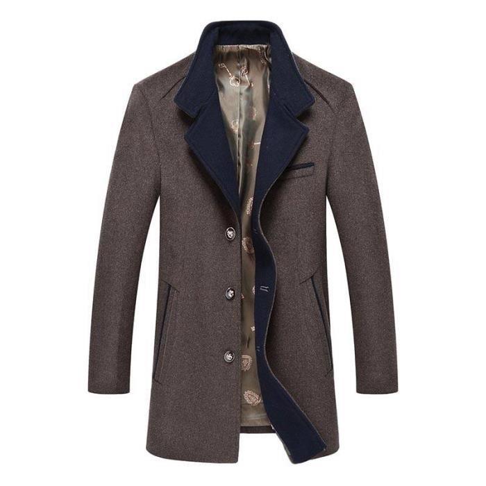 En Caban Veste Vêtements Boutique Boutonnage mi Simple longue Homme Automne Hugo De Manteau Laine Mode ng787Bxw