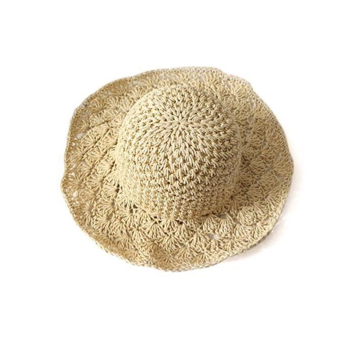 Nouveau beige enfant Panama main crochet ananas visière pliage chapeau de  paille bc4c03b4c76