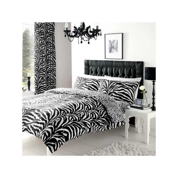 Zebra Et Imprime Leopard Double Housse De Couette Reversible Set