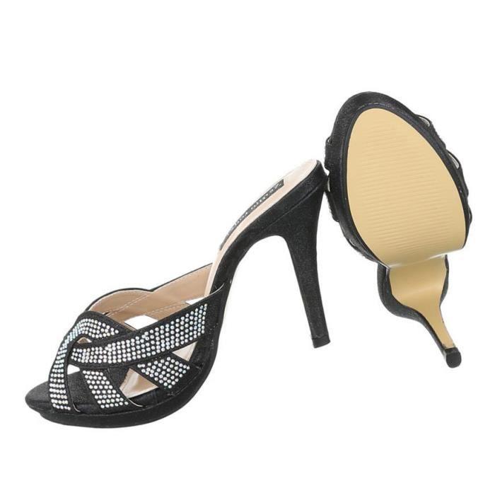 Femme sandales chaussures High Heels High Heels styleetto Pantoletten escarpin argent 41 QWiYR