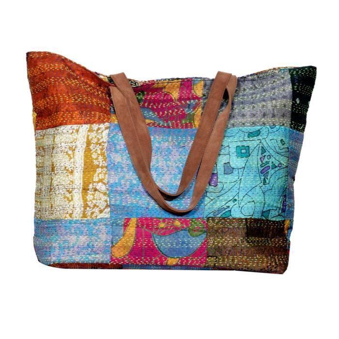 Cuir Kantha poignée bandoulière travail mu Sac femmes fourre vintage poignée sac supérieure Soie à main plage QVP2Z des tout rw5qCTr1