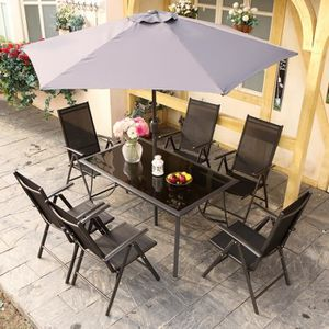 Salon de jardin vert anis avec parasol offert - Achat / Vente salon ...