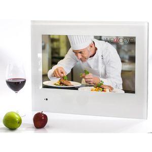 Téléviseur LED TV intégrable cuisine 54 cm (cadre blanc) avec fer