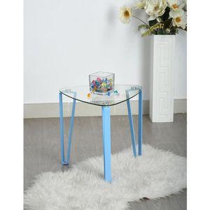 Table Basse Triangulaire En Verre Trempe Et Metal Bleu L44 X P 44x H 42cm