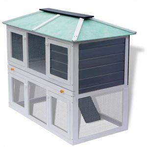 CAGE Cage de 2 niveaux en Bois pour animaux lapin poule
