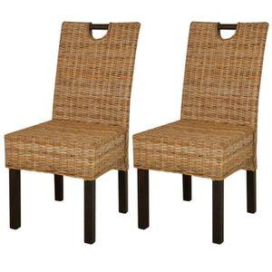 chaise vidaxl chaise de salle manger 2 pcs rotin kubu b
