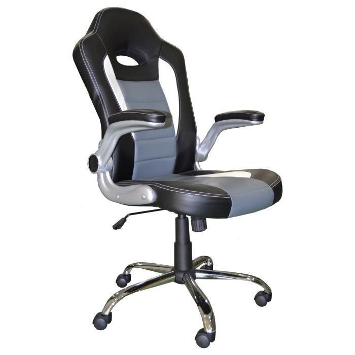 COCHE Chaise de bureau - Simili noir et gris - Urbain - L 58 x P 52 cm