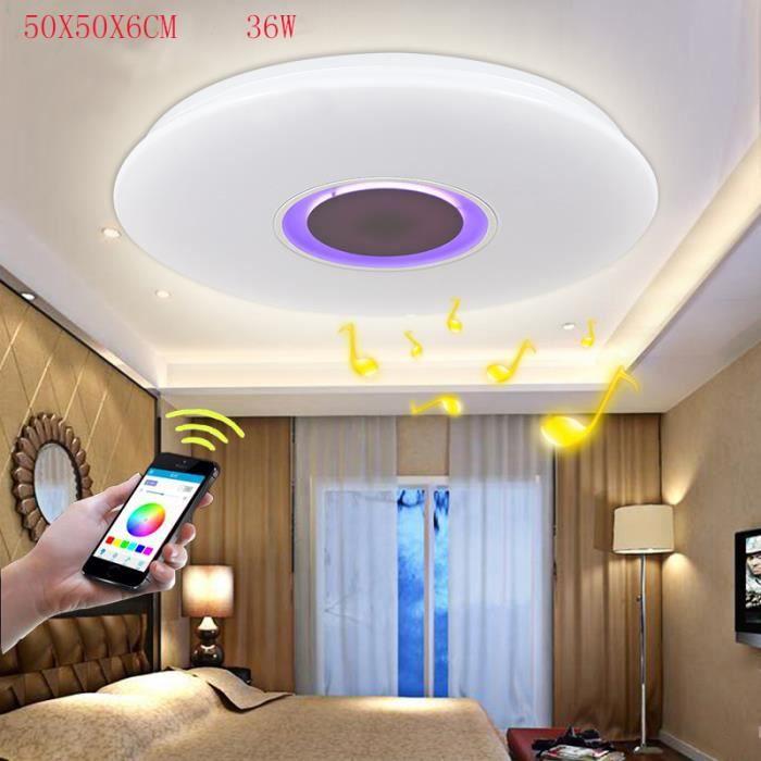 10 Plafond 260 15 36w Musique Mètres 90 App Carré Bluetoothamp; Led Pour Lumières Lampes V Lampe Moderne Avec WIEH9D2
