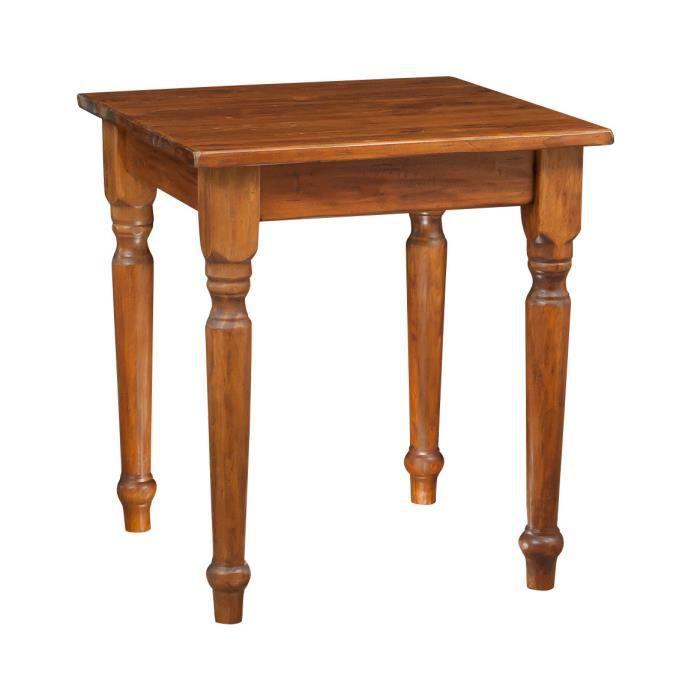 table rustique en bois massif de tilleul finition noyer l70xpr70xh78 cm achat vente statue. Black Bedroom Furniture Sets. Home Design Ideas