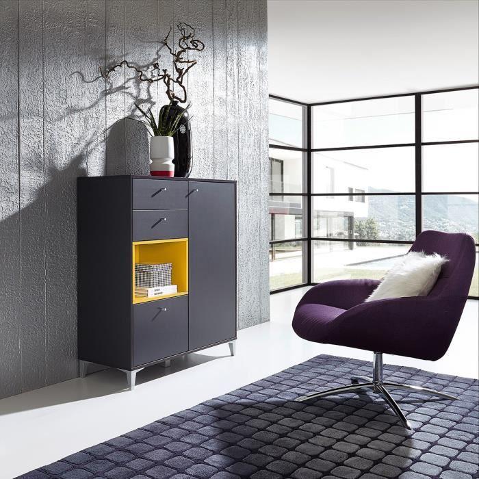 Meuble chaussures design haut karo gris jaune atylia - Meuble a chaussure haut ...