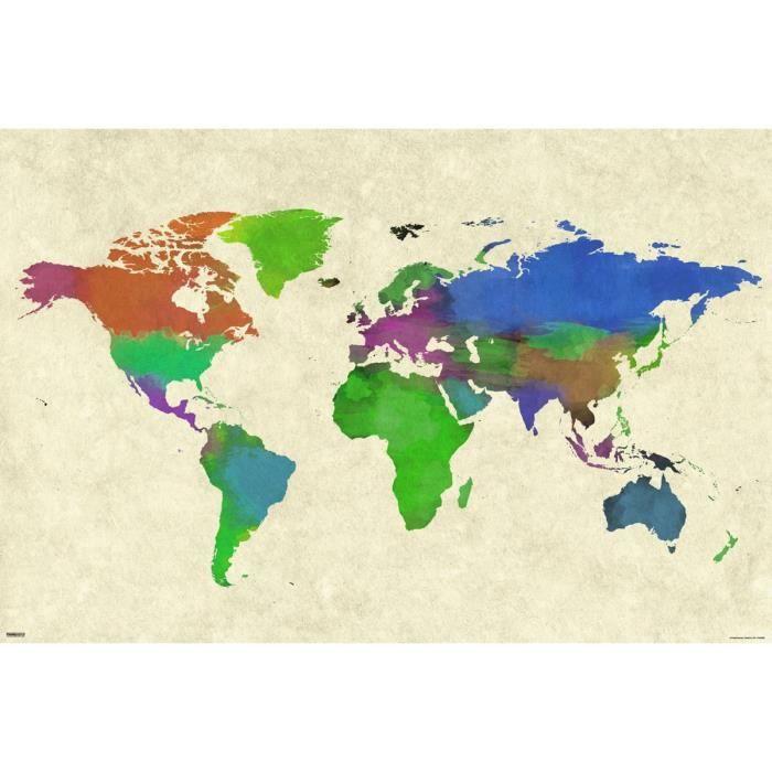 Un maxi poster 61 x 915 cm avec world map watercolor blanc affiche poster un maxi poster 61 x 915 cm avec world map waterco gumiabroncs Images