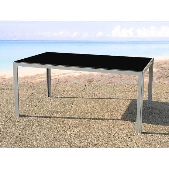 Table de jardin aluminium - plateau en verre 160 cm - Catania ...
