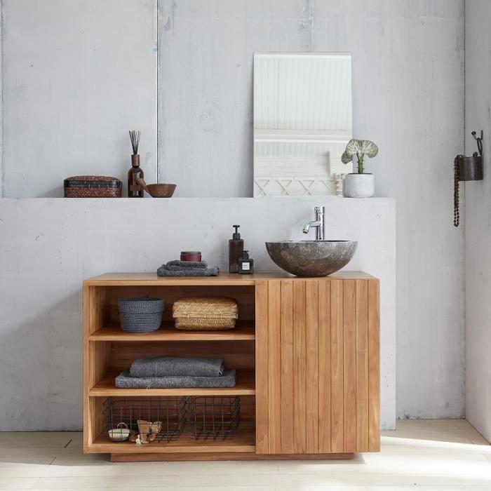 Ensemble salle de bain en bois de teck 120 - Vasque