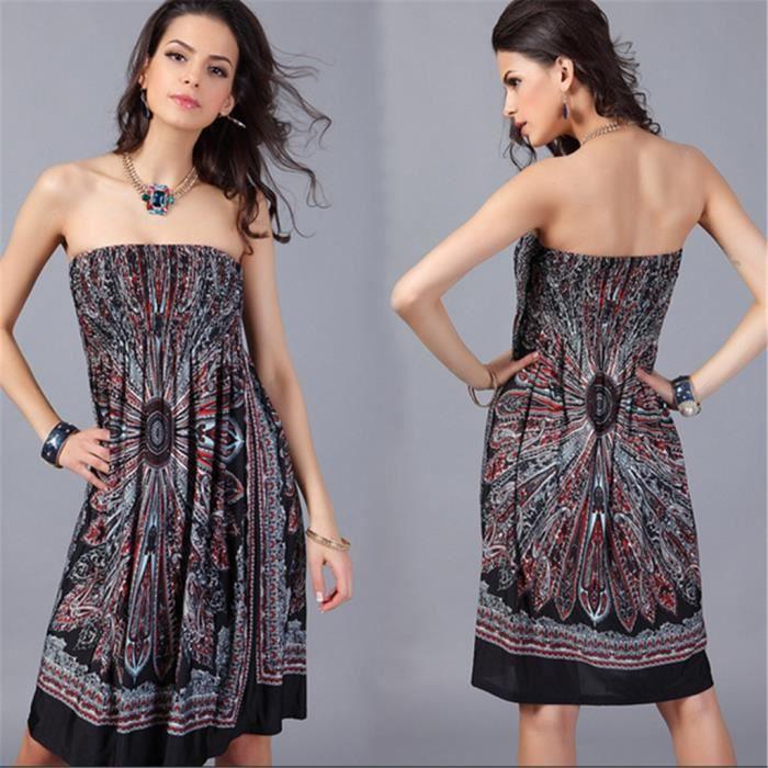 Robe des - femmes style européen les femmes devêtements dété -grande taille mode - robe Ice-soie - TU - Noir