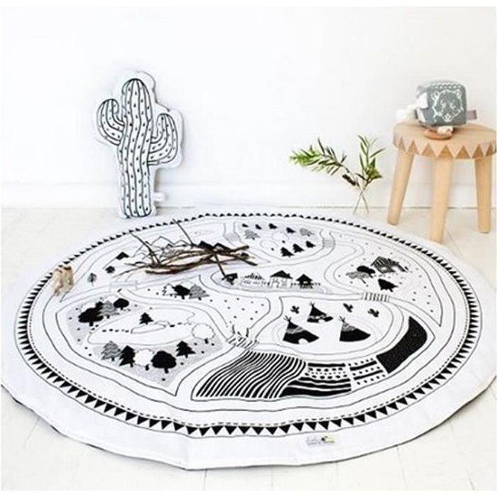 Tapis chambre bébé rond écologiste Carpet de jeux enfants Blanc et ...