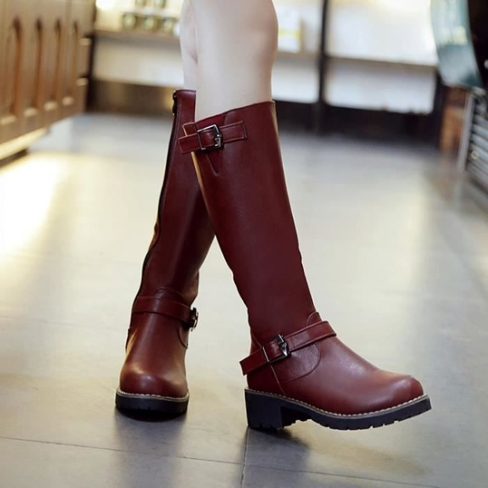 Rouge Bottes d'hiver avec Basse Haute Bottes Leg Bottes dames.