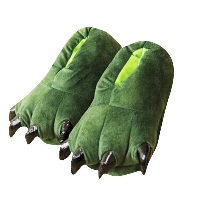 Chausson Pantoufle Animal Monstre Dinosaure Hiver Peluche Pantoufle BTYS-XZ005Vert-33 qnG3HAC8