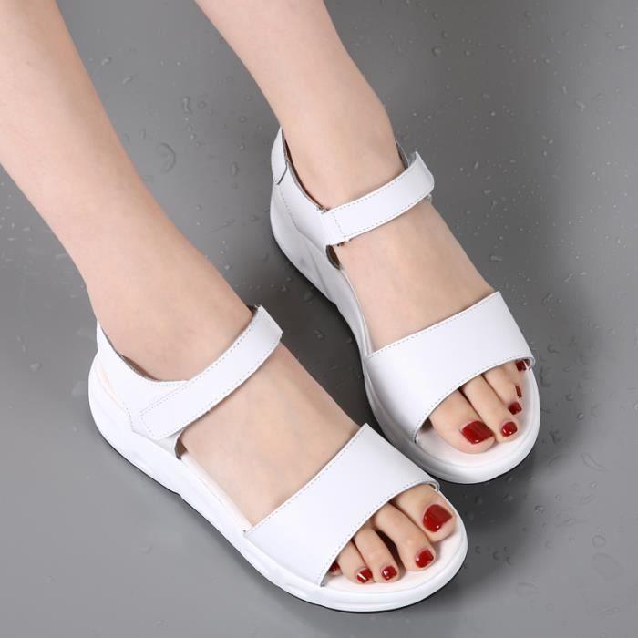 Casuel Beige Compens pieds Femme Sandales t Nu wZqXp44xP