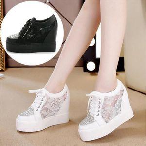 Chaussure Compensee Femme Basket Augmentation De La Hauteur Grande Taille Haute Qualité GD-XZ111Blanc37 uvFGKJ
