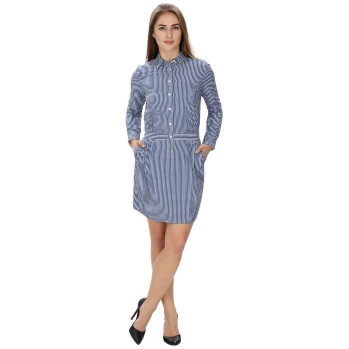 La Robe rayée Chemise de femmes pourOF4ZR Taille-40