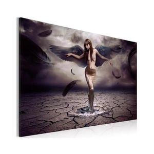 TABLEAU - TOILE Tableau Ange Noir - Dimension - 90x60.