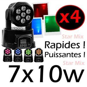 JEUX DE LUMIERE PACK de 4 Lyres Wash 7X10W LEDs RGBW très très rap
