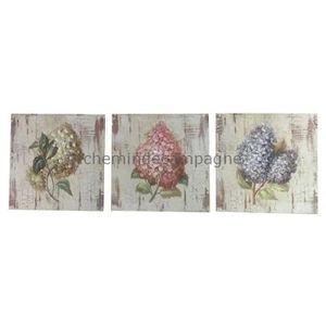 TABLEAU - TOILE 3 Tableaux Cadres en Bois Peint Fleur Lilas 20x20